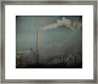 Smoke Stack Lightening In The City Sky Framed Print by Gothicrow Images