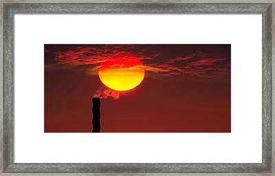 Smoke Stack In Sunset Framed Print by Panoramic Images