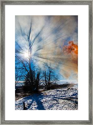 Smoke Thru The Trees Framed Print by Andrew Slater