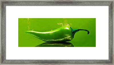 Framed Print featuring the photograph Smoke'n Hot Green Pepper  by Aaron Berg