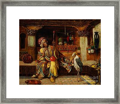 Smoker With Hookah And Marabou Framed Print