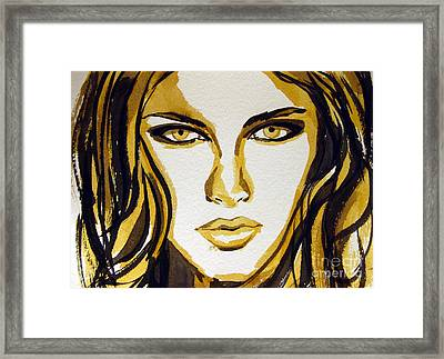 Smokey Eyes Woman Portrait Framed Print by Patricia Awapara