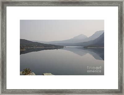 Smokey Skies At St Marys Lake Framed Print by June Hatleberg Photography