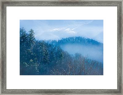 Smokies In Blue Framed Print by Maria Robinson
