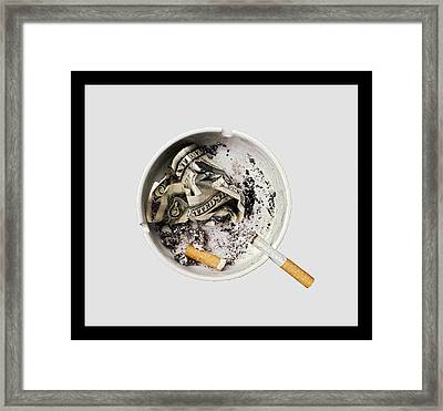 Smoking Also Kills Your Pocket And Fills The Politicians' Framed Print by Juan Carlos Ferro Duque