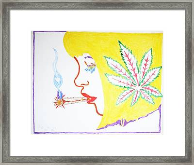 Framed Print featuring the painting Smoking Blonde by Stormm Bradshaw