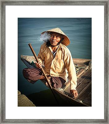 Framed Print featuring the photograph Smoking Boat-man by Kim Andelkovic