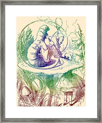 Smoking Caterpillar Alice In Wonderland Framed Print by