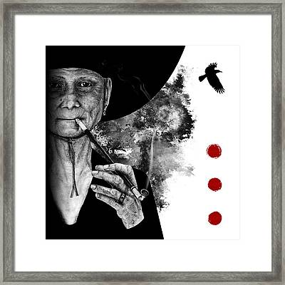Smoking Crone Framed Print by Penny Collins
