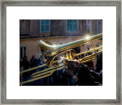 Smoking Hot Trombone Framed Print