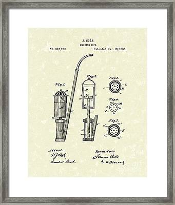 Smoking Pipe 1883 Patent Art Framed Print by Prior Art Design