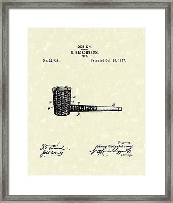 Smoking Pipe 1897 Patent Art  Framed Print by Prior Art Design