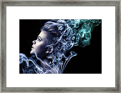 Smoking Framed Print by Samuel Whitton