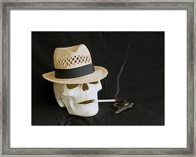 Smoking Skull  Framed Print by Danny Jones