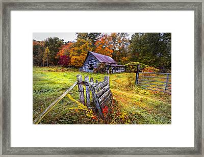 Smoky Mountain Farm Gate Framed Print by Debra and Dave Vanderlaan