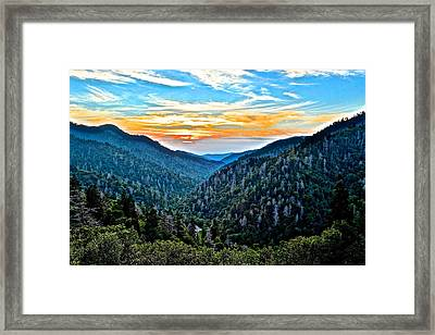 Smoky Mountain Sunset Framed Print by Frozen in Time Fine Art Photography
