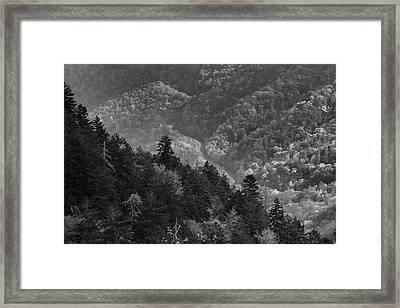 Smoky Mountain View Black And White Framed Print