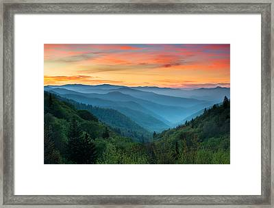 Smoky Mountains Sunrise - Great Smoky Mountains National Park Framed Print by Dave Allen