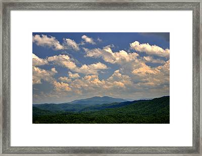 Smoky Peaks And Sky Framed Print
