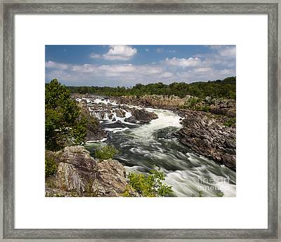 Smooth Flow At Great Falls  Framed Print by Dale Nelson