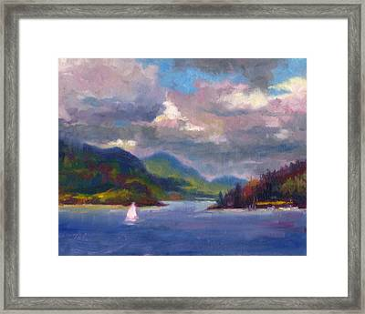 Framed Print featuring the painting Smooth Sailing Sailboat On Alaska Inside Passage by Talya Johnson