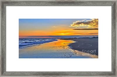 Smooth Sunset On Ocracoke Outer Banks Framed Print by Dan Carmichael