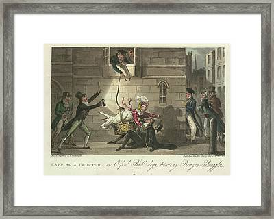 Smuggling A Woman Into An Oxford College Framed Print by British Library