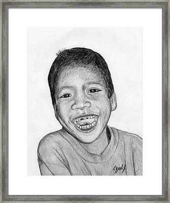 Framed Print featuring the drawing Snaggle-tooth by Lew Davis