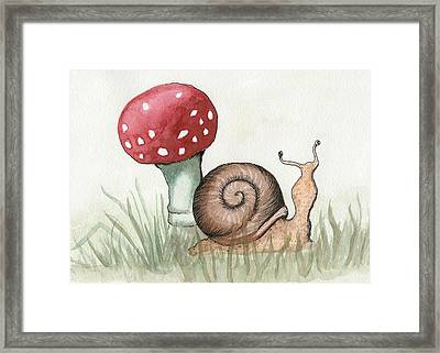 Snail And Mushroom Framed Print by Melissa Rohr Gindling