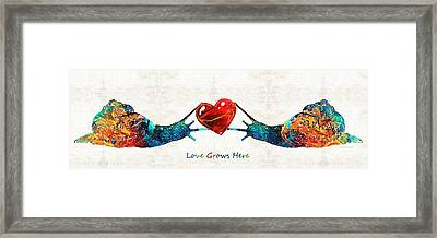 Snail Art - Love Grows Here - By Sharon Cummings Framed Print by Sharon Cummings