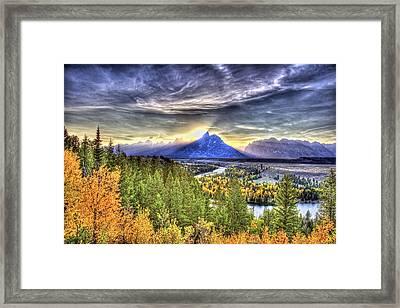 Snake River Over Look Fall Sunset Framed Print