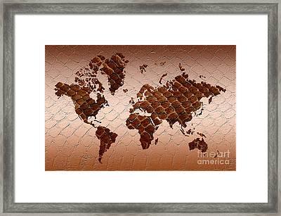 Snake Skin World Map Framed Print by Zaira Dzhaubaeva