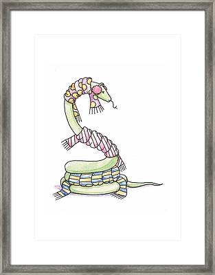 Snake Wearing A Scarf Framed Print