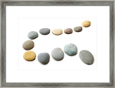 Snaking Line Of Twelve Pebbles Steps Isolated Framed Print by Colin and Linda McKie