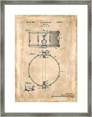 Snare Drum Patent 1939 Framed Print