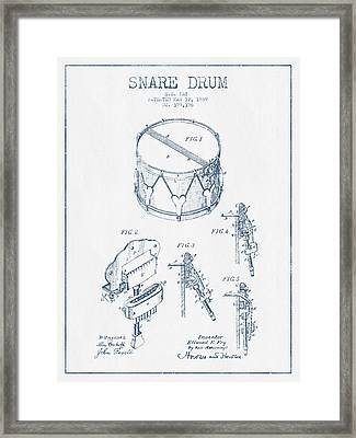Snare Drum Patent Drawing From 1889 - Blue Ink Framed Print by Aged Pixel