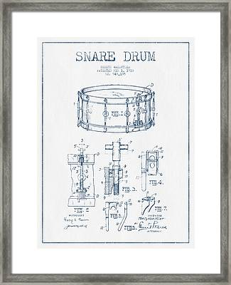 Snare Drum Patent Drawing From 1910  - Blue Ink Framed Print
