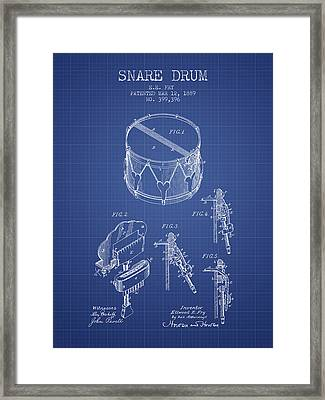 Snare Drum Patent From 1889- Blueprint Framed Print by Aged Pixel
