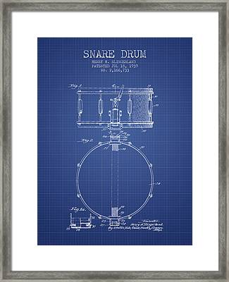 Snare Drum Patent From 1939 - Blueprint Framed Print by Aged Pixel
