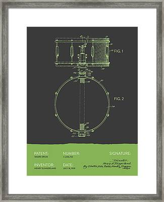 Snare Drum Patent From 1939 - Gray Green Framed Print by Aged Pixel