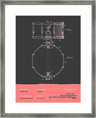Snare Drum Patent From 1939 - Gray Salmon Framed Print by Aged Pixel