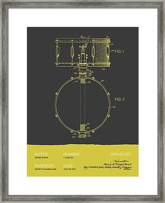 Snare Drum Patent From 1939 - Gray Yellow Framed Print by Aged Pixel