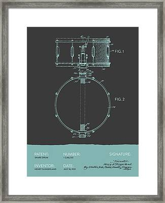 Snare Drum Patent From 1939 - Modern Gray Blue Framed Print