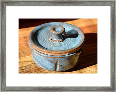 Snickerhaus Pottery-vessel With Lid Framed Print by Christine Belt
