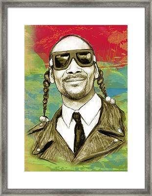 Snoop Dogg Art Sketch Poster Framed Print by Kim Wang