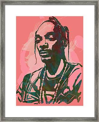 Snoop Dogg - Stylised Pop Art Drawing Potrait Poser Framed Print