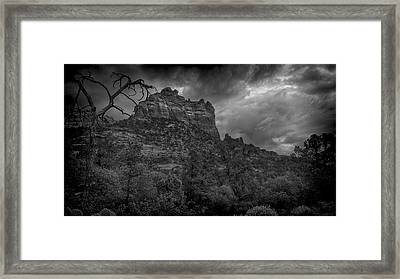 Snoopy Mountain In Black And White Framed Print