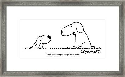 Dog Talks To Puppy About Being Cute Framed Print