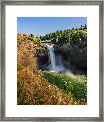 Snoqualmie Falls And Salish Lodge Framed Print by Scott Campbell