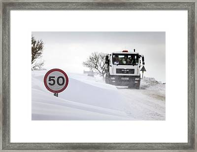 Snow Along Country Road Framed Print by Alex Hyde